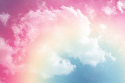 Sticker fond de soleil et de nuages avec une couleur pastel