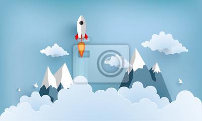 Sticker illustration de fusée volant au-dessus des nuages. beau paysage avec des nuages blancs