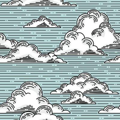 Sticker Nuages seamless pattern illustration dessinée à la main. vecteur, fond