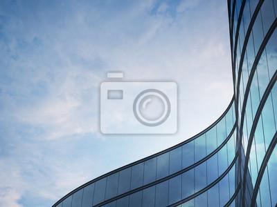 Sticker Point de vue du bâtiment de grande hauteur et du système de fenêtre en acier sombre avec des nuages réfléchis sur le verre. Concept commercial de l'architecture future, recherche de l'angle du coin