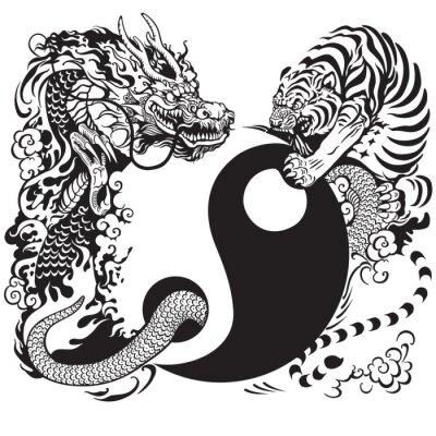 Sticker yin yang avec le dragon et le tigre