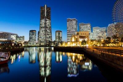Sticker Yokohama, ville, paysage, nuit