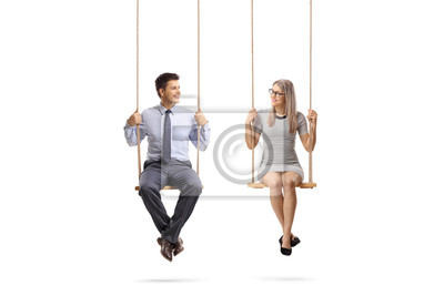Sticker Young man and woman sitting on a swing and looking at eachother