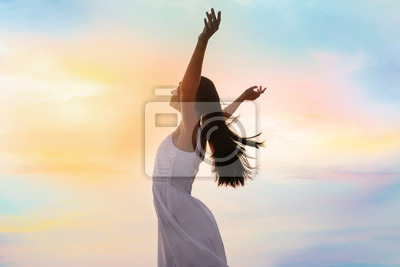 Sticker Young woman enjoying summer day against sky. Freedom of zen