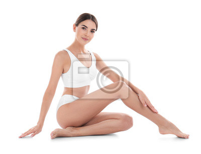 Sticker Young woman with perfect skin on white background. Beauty and body care