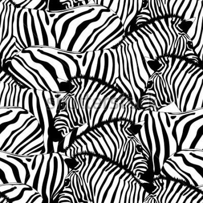Sticker Zebra seamless pattern.Savannah Animal ornament. Wild animal texture. Striped black and white. design trendy fabric texture, illustration.
