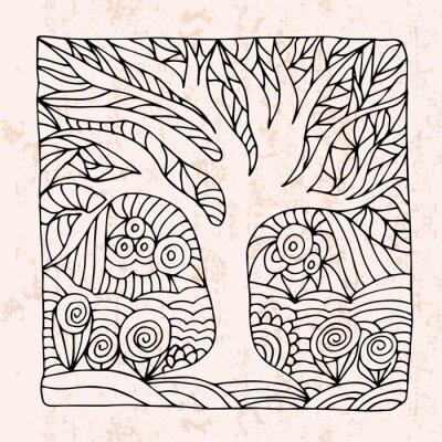 Sticker Zentangle, arbre, fleurs