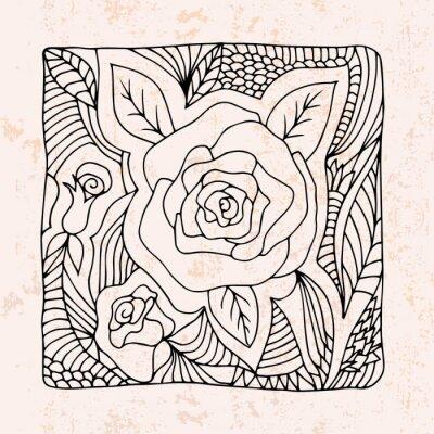 Sticker Zentangle avec des roses et des feuilles
