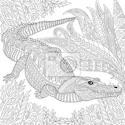 Sticker Zentangle Stylisé Dessin Animé Crocodile Alligator Entre