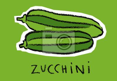 Zucchini sur fond vert
