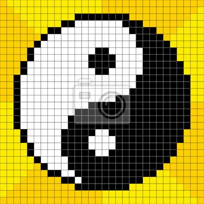 8 bits pixel art yin yang peintures pour le mur tableaux yin yang tai chi pixel. Black Bedroom Furniture Sets. Home Design Ideas