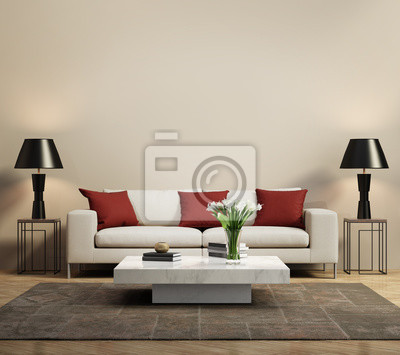 canap moderne beige avec des coussins rouges contemporain peintures pour le mur tableaux. Black Bedroom Furniture Sets. Home Design Ideas
