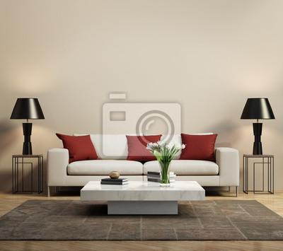 canap moderne beige avec des coussins rouges contemporain peintures pour le mur tableaux. Black Bedroom Furniture Sets. Home Design Ideas